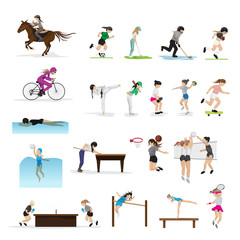 People In Different Sports And Icons Set - Isolated On White