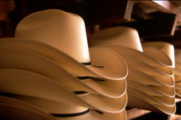 Cowboy Hats stacked Cream-colored Straw