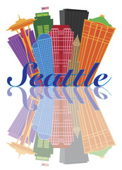 Seattle Abstract Skyline Reflection Vector Illustration