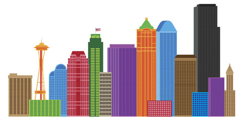 Seattle City Skyline Colors Illustration