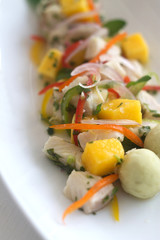 Fresh Fish Salad With Mango with Diffuse Background