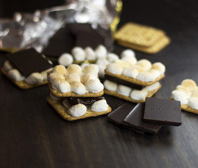 Smores. Chocolate and marshmallow and crackers. Selective focus.
