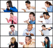 collage portrait angry adult people shouting yelling on phone