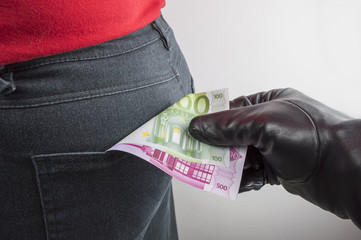 thief robbing euros