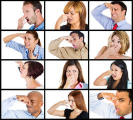 Group multicultural collage men women boy girl closing nose