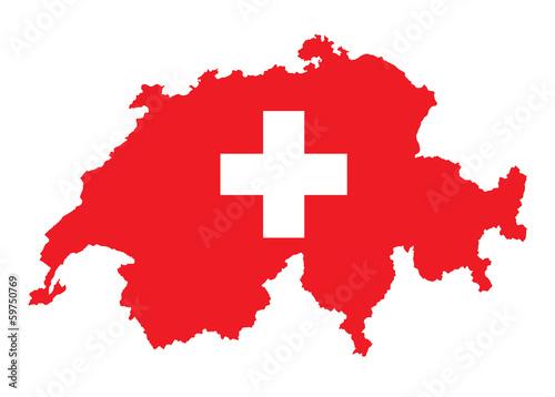 flaga i mapa Szwajcarii
