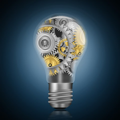Light bulb with technology gears