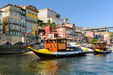 Boats on the Douro river in Porto, Portugal