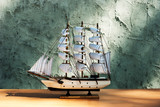 wooden sail ship toy model