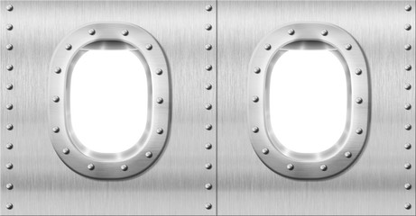 two metal portholes or windows