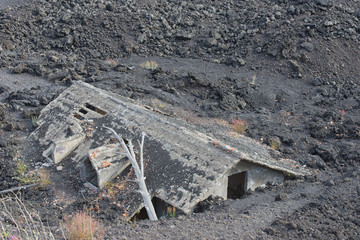 House destroyed by eruption on etna volcano