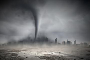 Tornado above city