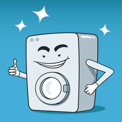 Vector illustration of vintage washing machine cartoon character