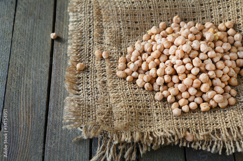 raw chickpeas on sacking