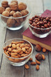 Nut mix in glass bowls