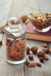 Almonds in glass jar