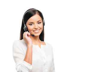 A beautiful customer support operator isolated on white