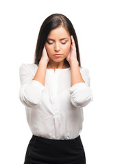 Tired and upset businesswoman in stress isolated on white