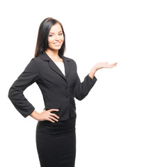 A young businesswoman in formal clothes on a white background