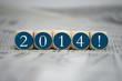 Würfel in Blau mit 2014!