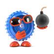 Plastic cog holds a bomb