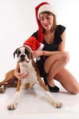 cane boxer e ragazza a natale