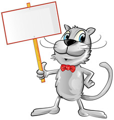 funny cat cartoon with signboard