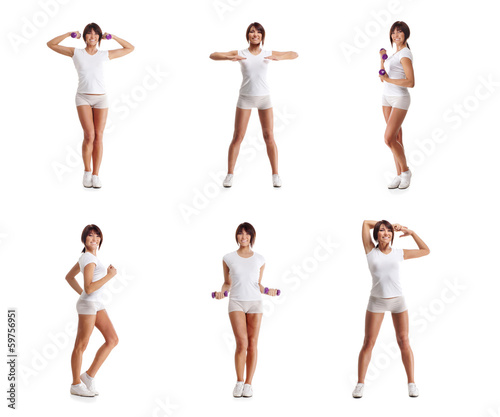 A collage of young and fit womane working out in white clothes