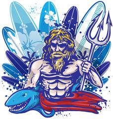 poseidon surfer on surfboard