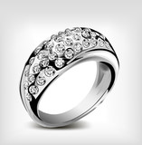 Silver vector wedding ring and diamonds
