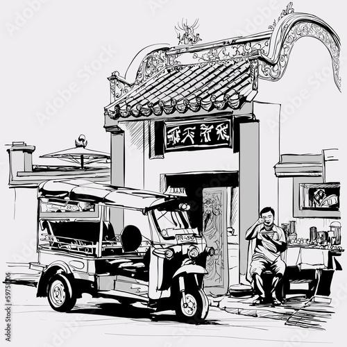 Tuk tuk driver eating at the door of a chinese temple in Bangkok - 59758106