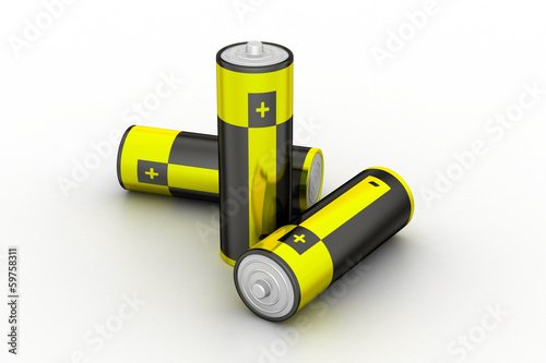 Batteries in white background
