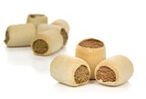 Selection of round roll shaped dog biscuits