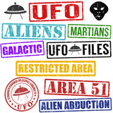 Set of aliens and UFO stamps