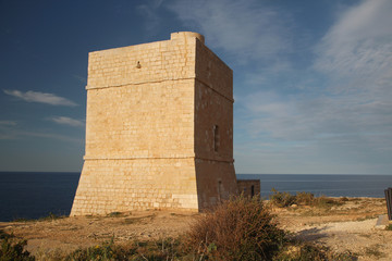 Madliena Watchtower at the Malta coast