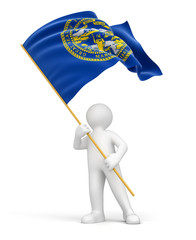 Man and flag of Nebraska (clipping path included)
