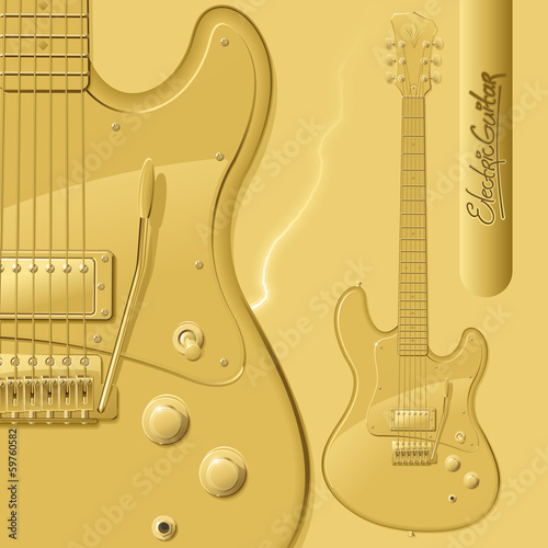 gold electric guitar