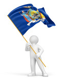 Man and flag of New York (clipping path included)