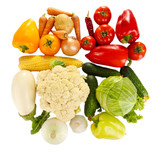 Bright colorful vegetables isolated on white background