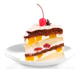 Layered fruit cake isolated on white