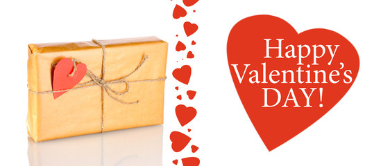 Parcel with blank heart-shaped label isolated on white