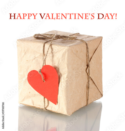 Small parcel with blank heart-shaped label isolated on white