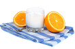 Delicious yogurt in glass with orange isolated on white