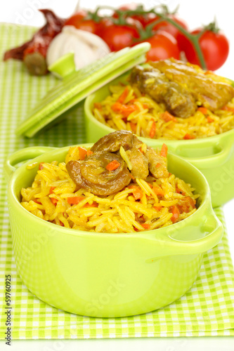 Delicious pilaf with vegetables close up