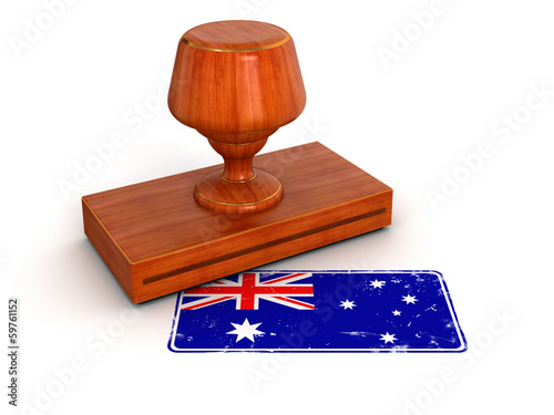 Rubber Stamp Australian flag (clipping path included)