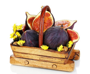 Ripe figs in basket isolated on white