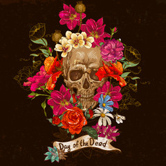 Skull and Flowers Day of The Dead