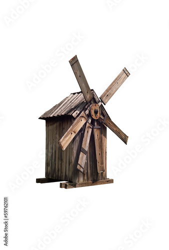 Isolated old wooden windmill on white background