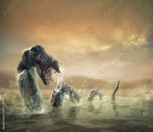 Scary Loch Ness Monster emerging from water - 59762909