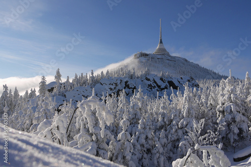 Liberec - transmitter tower Jested in winter